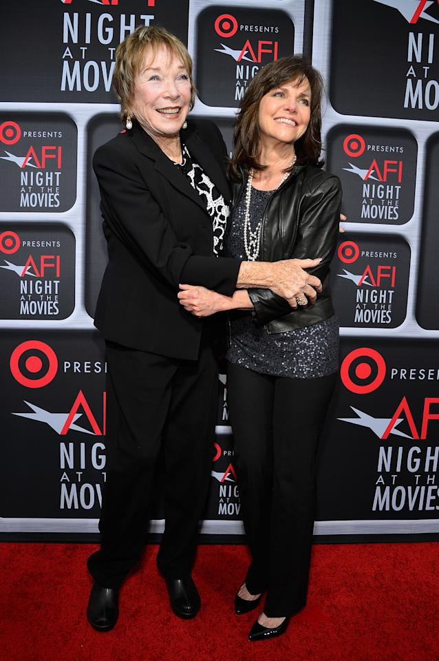 HOLLYWOOD, CA - APRIL 24:  Actresses Shirley MacLaine (L) and Sally Field arrive on the red carpet for Target Presents AFI's Night at the Movies at ArcLight Cinemas on April 24, 2013 in Hollywood, California.  (Photo by Frazer Harrison/Getty Images for AFI)