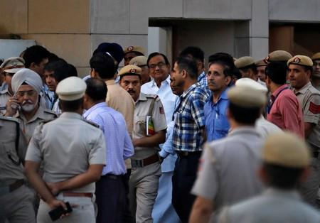 India's former finance minister Chidambaram leaves court after a hearing following his arrest, in New Delhi