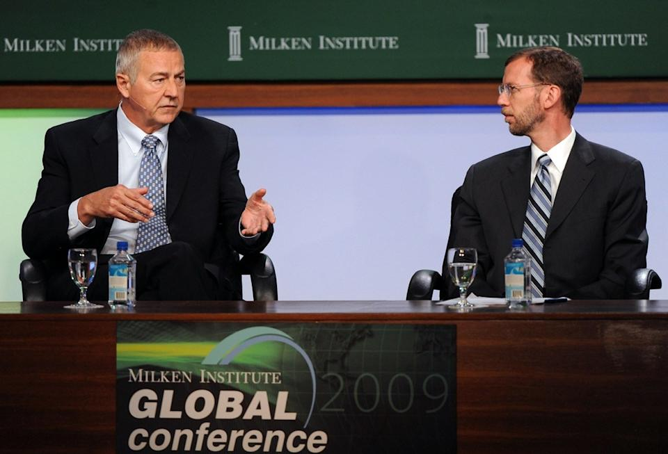 Jim Goodnight, CEO, SAS, (L) and Douglas Elmendorf, Director, Congressional Budget Office participate in the U.S. Overview: When Will Growth Resume? panel at the 2009 Milken Institute Global Conference in Beverly Hills, California on April 27, 2009.