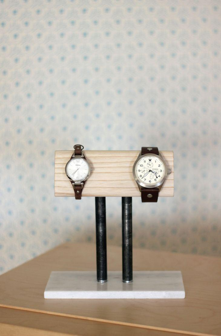 """<p>This year, get extra crafty, and put together a sturdy stand for Dad's favorite wristwatches. Made from wood and black pipe, it'll be a polished piece for his bedside table. </p><p><strong>Get the tutorial at <a href=""""http://themerrythought.com/diy/diy-watch-stand/"""" rel=""""nofollow noopener"""" target=""""_blank"""" data-ylk=""""slk:The Merrythought"""" class=""""link rapid-noclick-resp"""">The Merrythought</a>.</strong> </p>"""