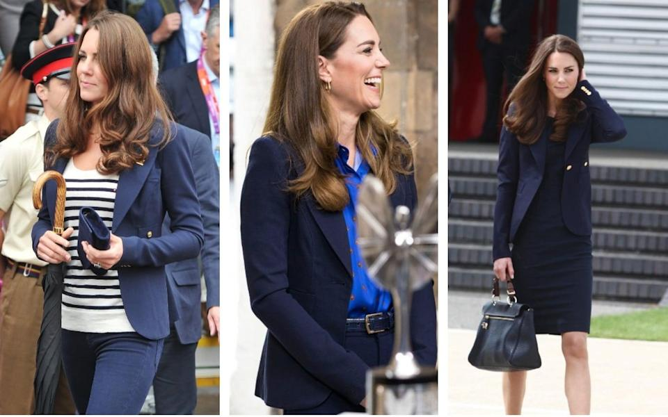The Duchess of Cambridge has been wearing her favourite navy blazer since 2011 - Getty/ PA