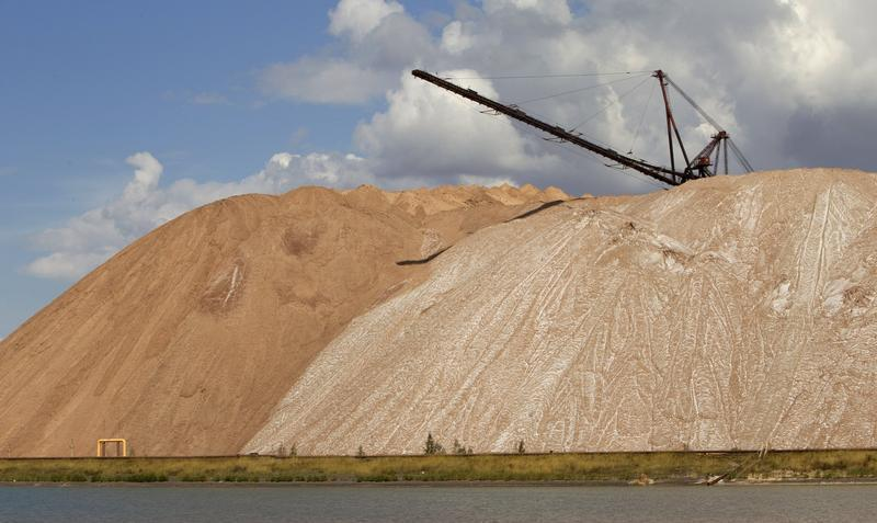 General view shows waste heaps at Belaruskali potash mines near the town of Soligorsk