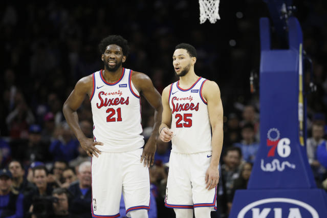 Can Joel Embiid and Ben Simmons have an impact in the playoffs? (AP Photo/Matt Slocum)