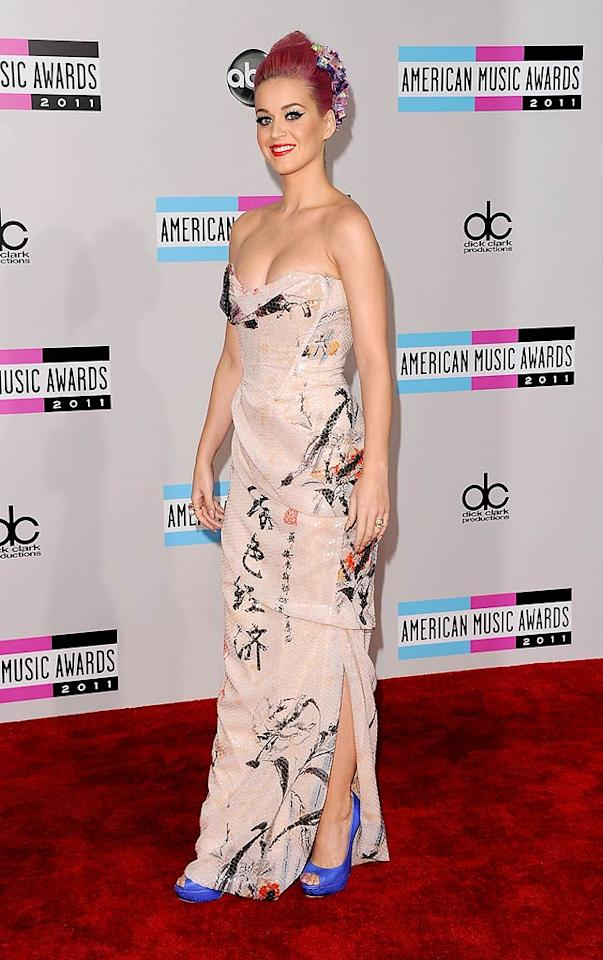 Katy Perry arrives at the 2011 American Music Awards held at the Nokia Theatre L.A. LIVE. (11/20/2011)