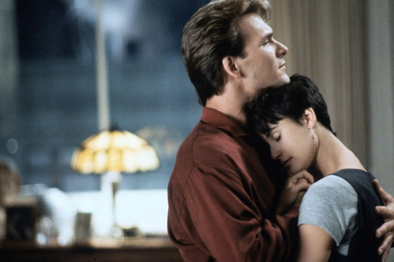 American actors Patrick Swayze and Demi Moore on the set of Ghost, directed by Jerry Zucker. (Photo by Paramount Pictures/Sunset Boulevard/Corbis via Getty Images)