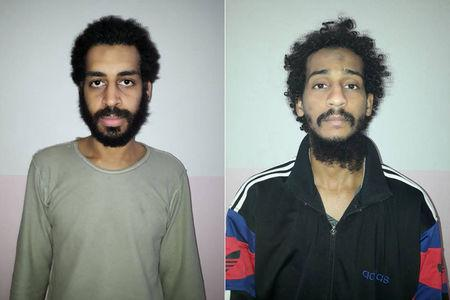 A combination picture shows Alexanda Kotey and Shafee Elsheikh, who the Syrian Democratic Forces (SDF) claim are British nationals, in these undated handout pictures in Amouda