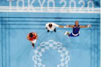 <p>An overview shot of Cuba's Roniel Iglesias celebrating after winning against Britain's Pat McCormack after their men's boxing final.</p>