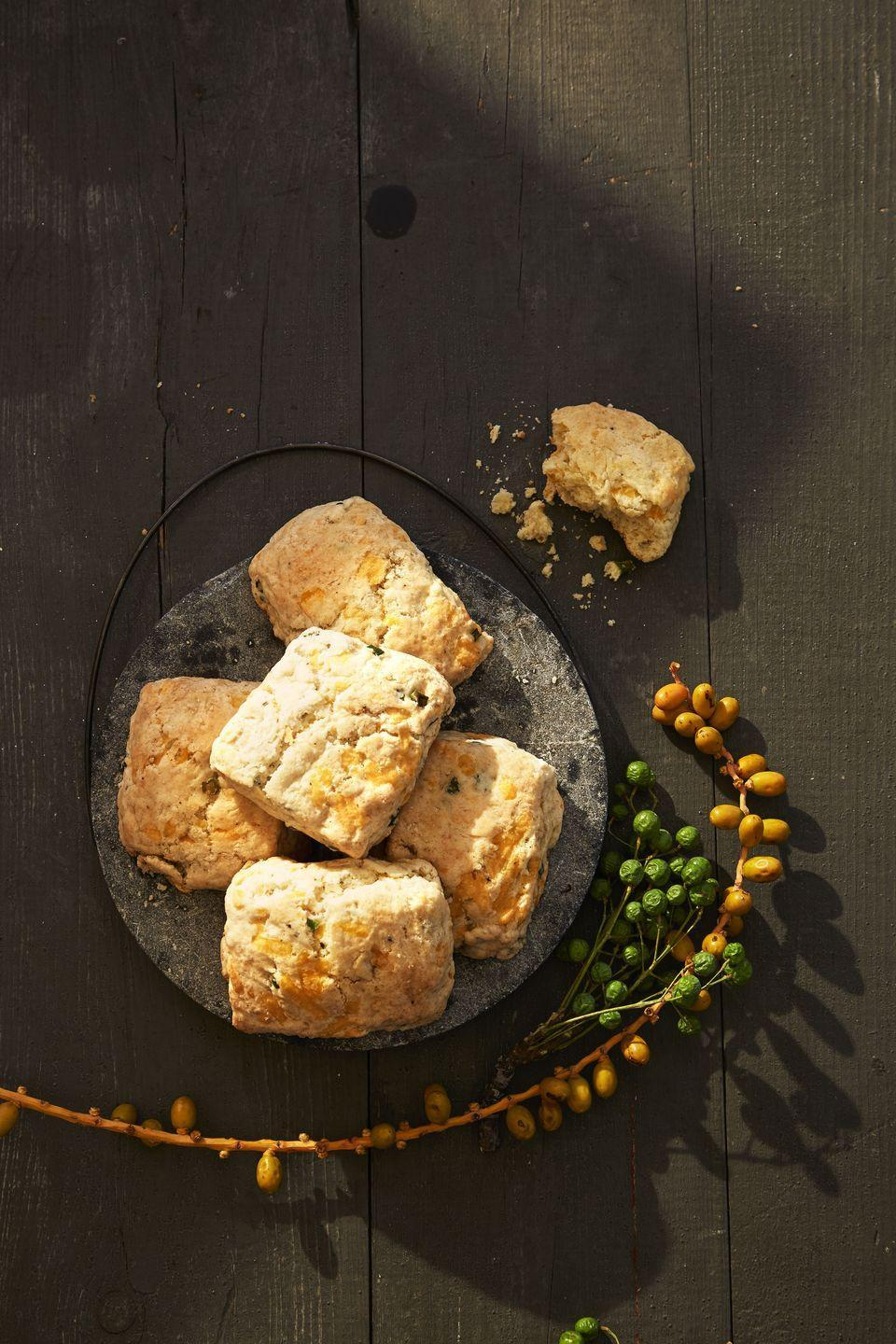 """<p>Cheesy, melt-in-your-mouth biscuits beat out regular rolls every time.</p><p><em><a href=""""https://www.goodhousekeeping.com/food-recipes/a41104/fluffy-apple-cheddar-biscuits-recipe/"""" rel=""""nofollow noopener"""" target=""""_blank"""" data-ylk=""""slk:Get the recipe for Fluffy Apple-Cheddar Biscuits »"""" class=""""link rapid-noclick-resp"""">Get the recipe for Fluffy Apple-Cheddar Biscuits »</a></em></p>"""