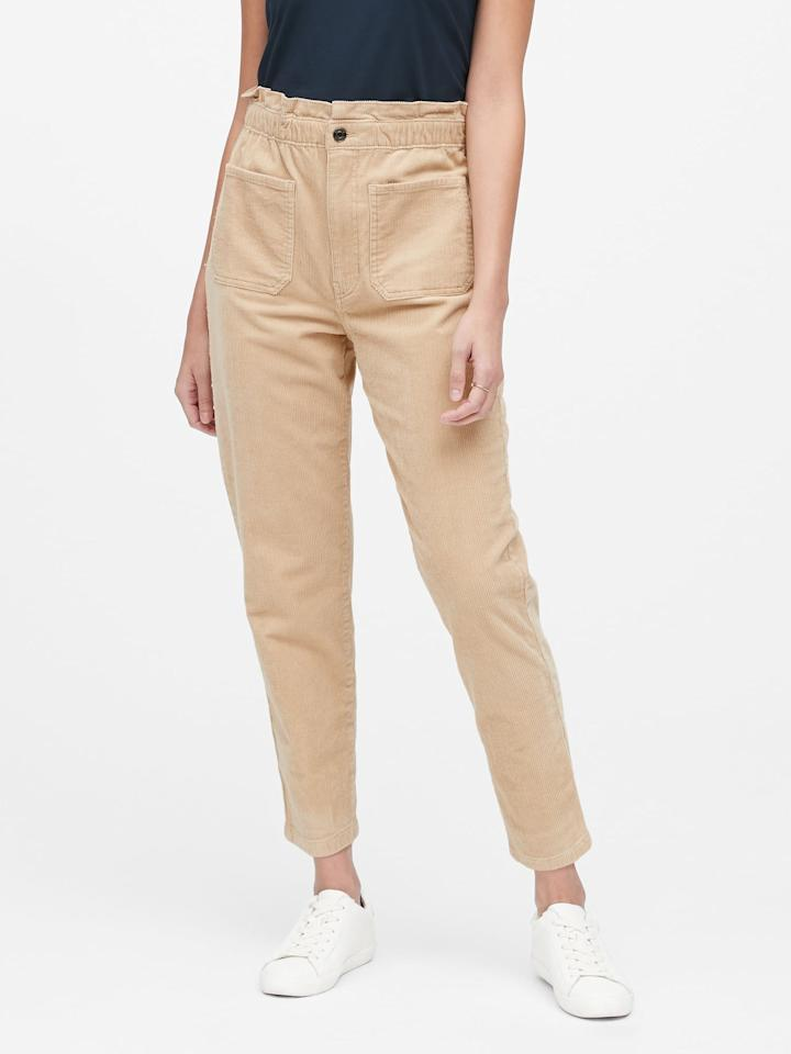 """<p>The pockets on these <a href=""""https://www.popsugar.com/buy/Japan-Exclusive-Corduroy-Paper-Bag-Pants-499229?p_name=Japan%20Exclusive%20Corduroy%20Paper-Bag%20Pants&retailer=bananarepublic.gap.com&pid=499229&price=72&evar1=fab%3Aus&evar9=46730877&evar98=https%3A%2F%2Fwww.popsugar.com%2Ffashion%2Fphoto-gallery%2F46730877%2Fimage%2F46730893%2FJapan-Exclusive-Corduroy-Paper-Bag-Pants&list1=shopping%2Cbanana%20republic%2Cfall%20fashion%2Cfall%2Cpants&prop13=mobile&pdata=1"""" rel=""""nofollow"""" data-shoppable-link=""""1"""" target=""""_blank"""" class=""""ga-track"""" data-ga-category=""""Related"""" data-ga-label=""""https://bananarepublic.gap.com/browse/product.do?pid=494507002&amp;cid=1009307&amp;pcid=67595&amp;vid=1&amp;grid=pds_101_161_1#pdp-page-content"""" data-ga-action=""""In-Line Links"""">Japan Exclusive Corduroy Paper-Bag Pants</a> ($72, originally $120) are too cute.</p>"""