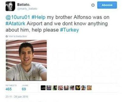 It was also tweeted that 'Alfonso' was killed in the recent Istanbul terror attack. Photo: Twitter