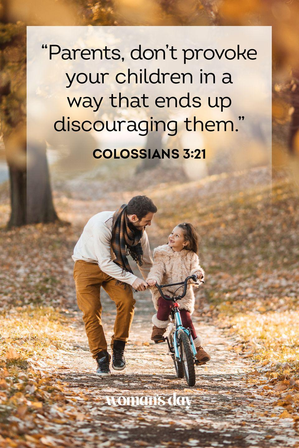 """<p>""""Parents, don't provoke your children in a way that ends up discouraging them."""" — Colossians 3:21</p><p><strong>The Good News: </strong>Parents, do not discourage or punish your children, particularly in their faith. This will cause them to be discouraged and spiteful.</p>"""
