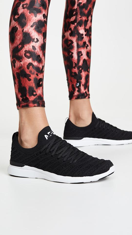 """<p>These <a href=""""https://www.popsugar.com/buy/APL-Techloom-Wave-Sneakers-545216?p_name=APL%20Techloom%20Wave%20Sneakers&retailer=shopbop.com&pid=545216&price=225&evar1=fit%3Aus&evar9=45756129&evar98=https%3A%2F%2Fwww.popsugar.com%2Ffitness%2Fphoto-gallery%2F45756129%2Fimage%2F47166179%2FAPL-Techloom-Wave-Sneakers&list1=shopping%2Cshoes%2Csneakers%2Crunning%20shoes%2Crunning&prop13=mobile&pdata=1"""" rel=""""nofollow"""" data-shoppable-link=""""1"""" target=""""_blank"""" class=""""ga-track"""" data-ga-category=""""Related"""" data-ga-label=""""https://www.shopbop.com/techloom-wave-sneakers-apl-athletic/vp/v=1/1586804308.htm?folderID=40824&amp;fm=other-shopbysize-viewall&amp;os=false&amp;colorId=1138B&amp;ref=SB_PLP_NB_48"""" data-ga-action=""""In-Line Links"""">APL Techloom Wave Sneakers</a> ($225) are lightweight but still provide support, and they're one of our ultimate favorite shoes.</p>"""