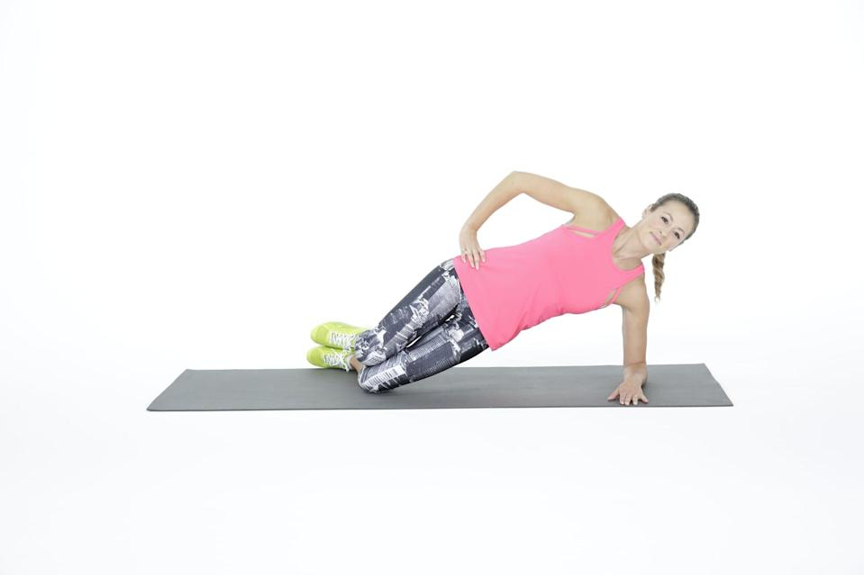 """<p>Both the side bridge and side plank are great for building strength in the <a href=""""https://www.popsugar.com/fitness/How-Use-Your-Transverse-Abdominis-43724732"""" class=""""link rapid-noclick-resp"""" rel=""""nofollow noopener"""" target=""""_blank"""" data-ylk=""""slk:transverse abdominis"""">transverse abdominis</a> and other muscles used to stabilize the spine. If you cannot hold a side plank or if engaging the abdominal wall causes pain, start with the side bridge. </p><ul> <li>Lie on your left side with your knee bent at a 90-degree angle and your elbow underneath your shoulder.</li> <li>Push your hips forward, lifting your thighs off the ground. Rest your right hand on top of your right hip, and hold for 10 seconds.</li> <li>Be sure to keep your knees, hips, and upper body aligned. If you experience discomfort in your shoulder, place your right hand over your left shoulder with your fingers spread apart, and pull your right elbow down across your chest. </li> </ul>"""