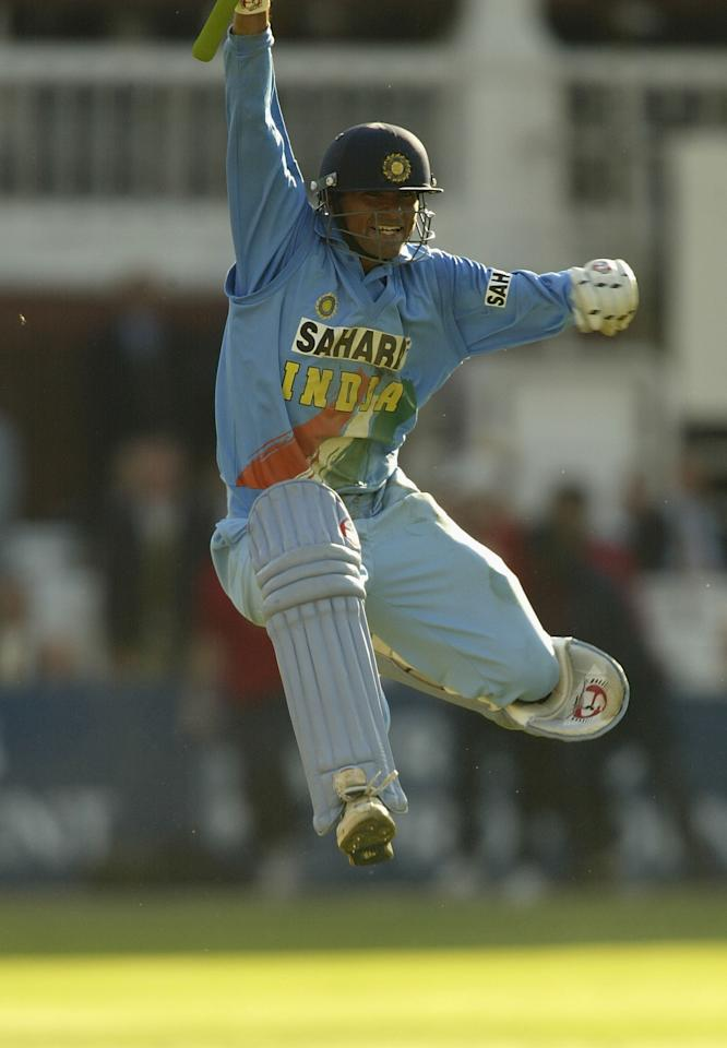 LONDON, ENGLAND - JULY 13:  Mohammad Kaif of India celebrates their win during the match between England and India in the NatWest One Day Series Final at Lord's in London, England on July 13, 2002. (Photo by Clive Mason/Getty Images)