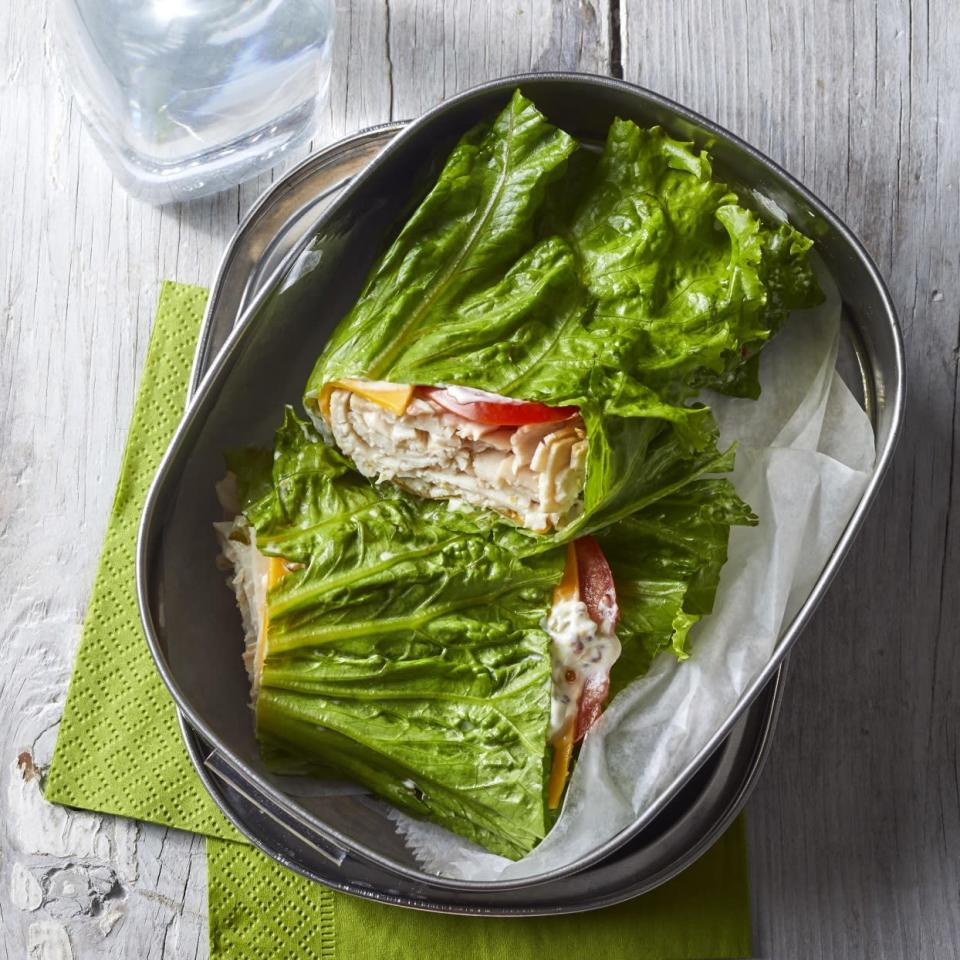 <p>Crispy green lettuce leaves hold the filling inside this low-carb turkey wrap. It's perfect for lunch or a quick, easy dinner on the go.</p>