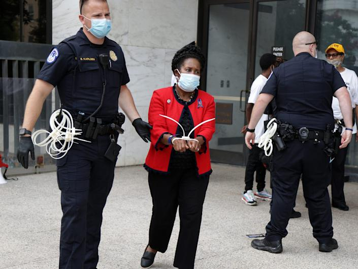 Rep. Sheila Jackson Lee is taken into custody at demonstration on July 29, 2021.