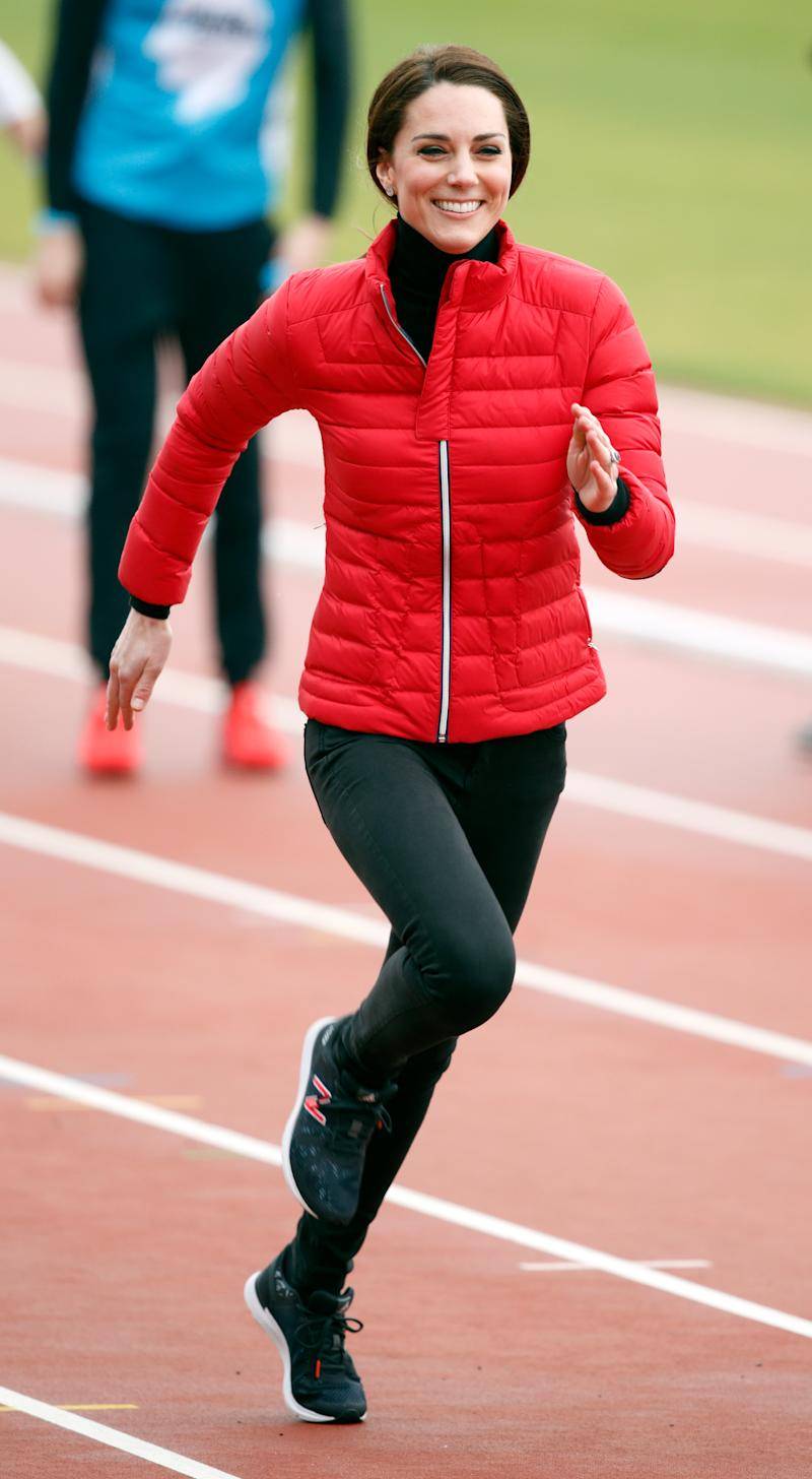 Duchess of Cambridge was first pictured wearing New Balance trainers in 2017 at the Team Heads Together London Marathon Training Day. (Getty Images)
