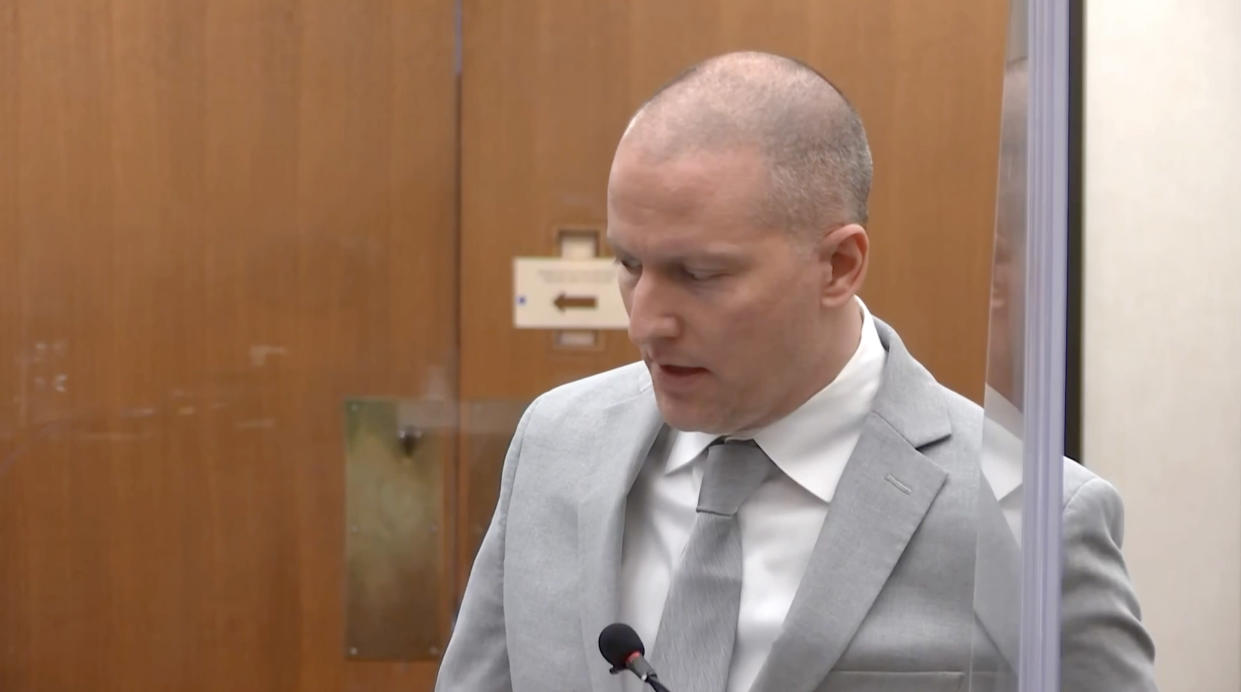 Derek Chauvin chose not to read a statement at his sentencing hearing on June 25, 2021, opting to simply offer his condolences to the family of George Floyd. Credit: (Court TV via Reuters)