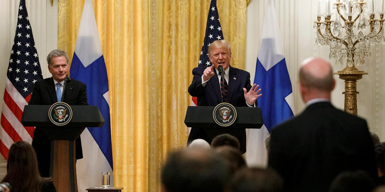 Trump ranted at a reporter after repeatedly dodging a question about Ukraine, before telling him to 'ask the president of Finland a question'