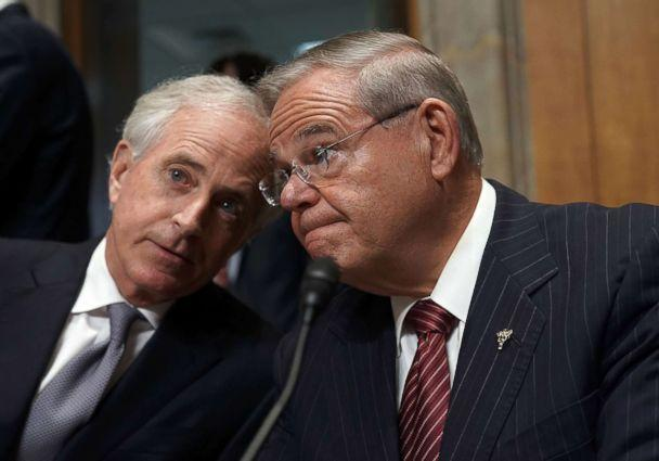 PHOTO: Sen. Bob Corker, left, chairman of the Senate Foreign Relations Committee, talks with with ranking member Sen. Bob Menendez, prior to a committee meeting April 23, 2018 on Capitol Hill in Washington, D.C. (Alex Wong/Getty Images, FILE)