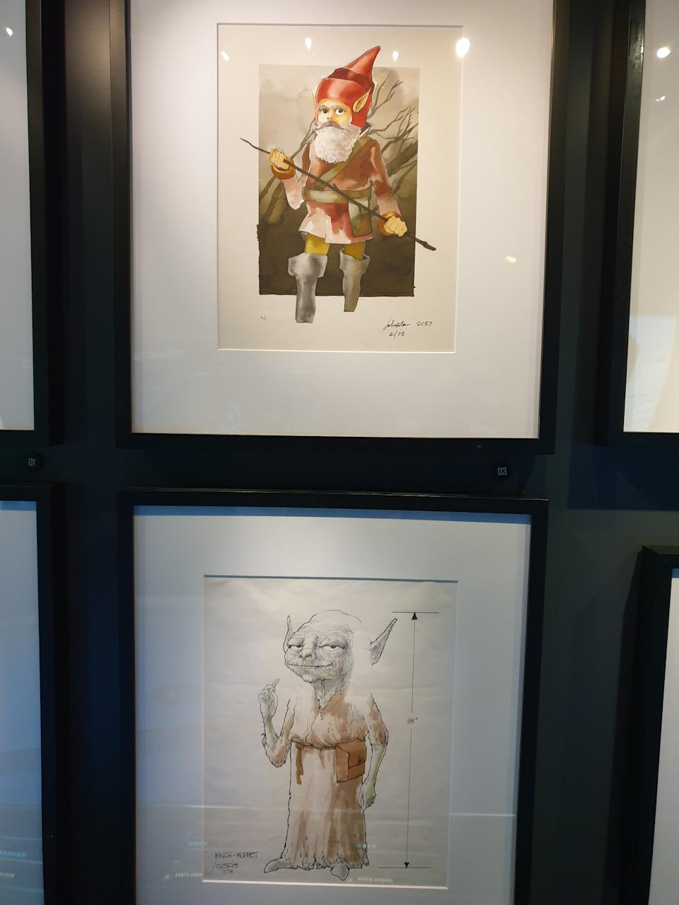 Early artworks of Yoda designs by artist Joe Johnston at the Star Wars Identities exhibition in Singapore at the Artscience Museum. (Photo: Teng Yong Ping)