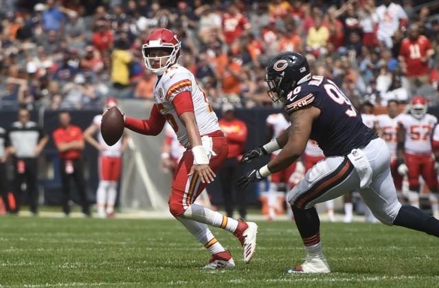 In what was likely his last outing before Week 1, Patrick Mahomes went 18-for-24 for 196 yards and one TD against the Bears on Saturday. (AP)