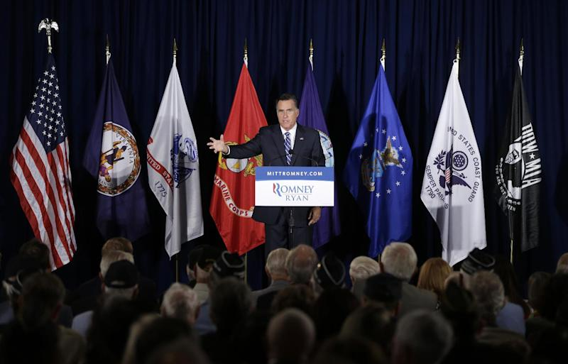 Republican presidential candidate, former Massachusetts Gov. Mitt Romney campaigns at American Legion Post 176 in Springfield, Va., Thursday, Sept. 27, 2012. (AP Photo/Charles Dharapak)