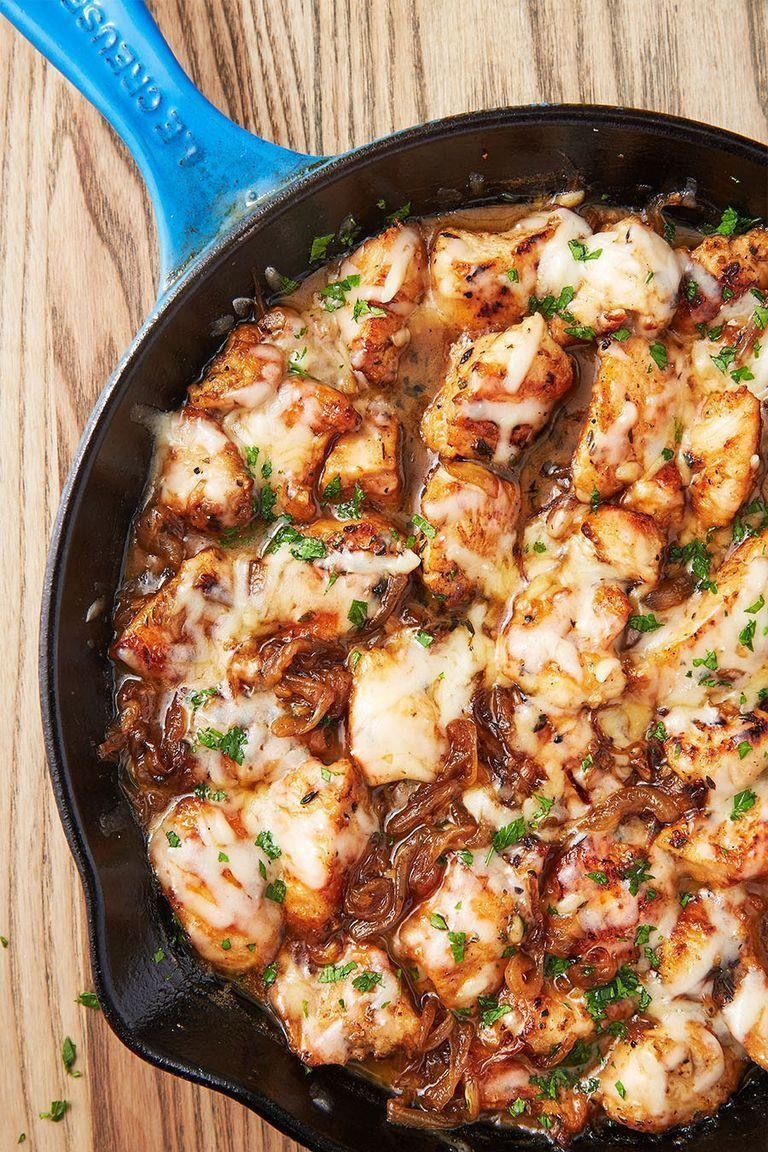 """<p>We love that this recipe comes together in one pan and in less than an hour. Dunking good bread into the extra pan sauce is highly encouraged.</p><p>Get the <a href=""""https://www.delish.com/uk/cooking/recipes/a29496929/french-onion-chicken-recipe/"""" rel=""""nofollow noopener"""" target=""""_blank"""" data-ylk=""""slk:French Onion Chicken"""" class=""""link rapid-noclick-resp"""">French Onion Chicken</a> recipe.</p>"""