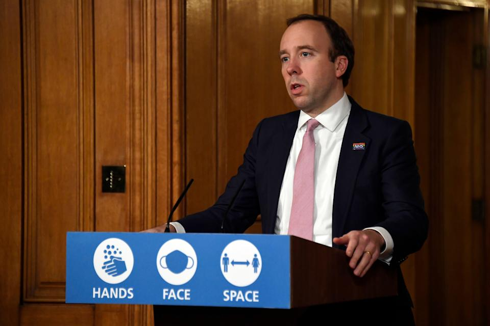 <p>Hancock says vaccine will be made available from next week</p>PA