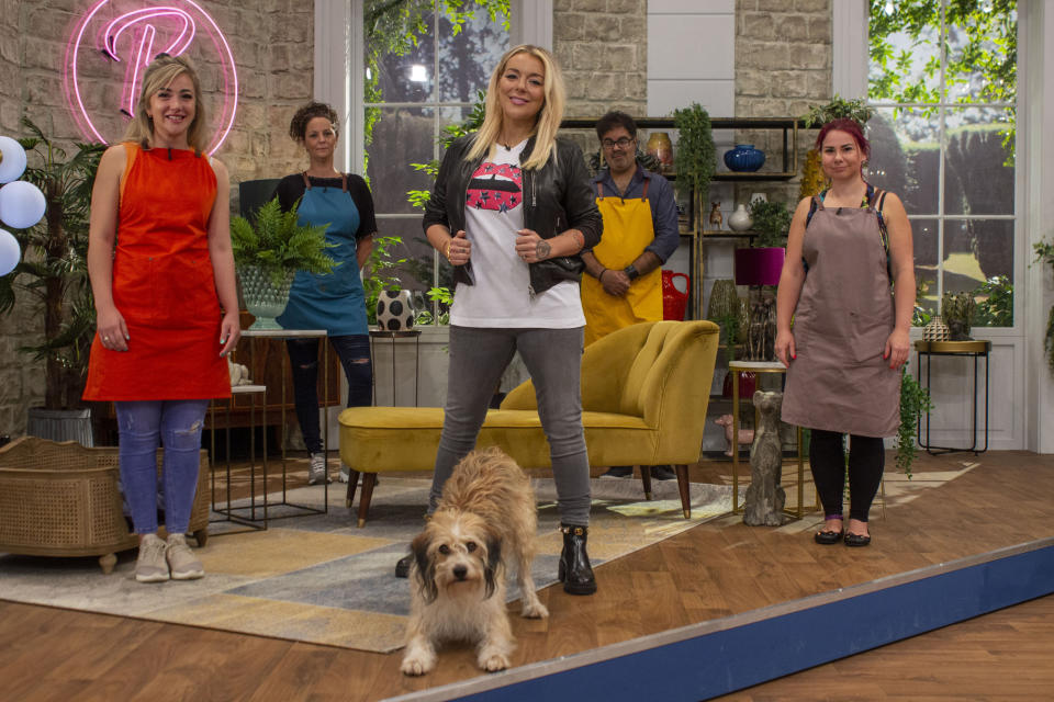 Kara, Kelly D, Stanley, Sheridan Smith, Lakhi, Hannah on Pooch Perfect (Beyond Productions/Becky Robinson)