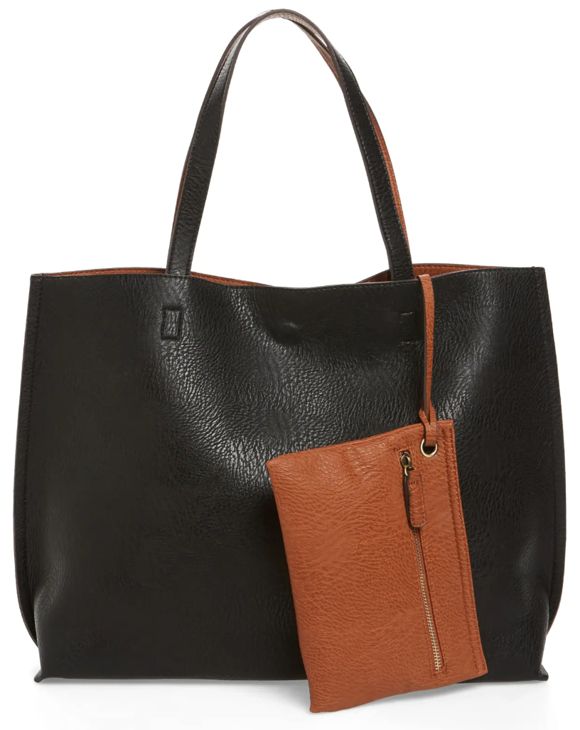 Street Level Reversible Faux Leather Tote & Wristlet in Black/Cognac
