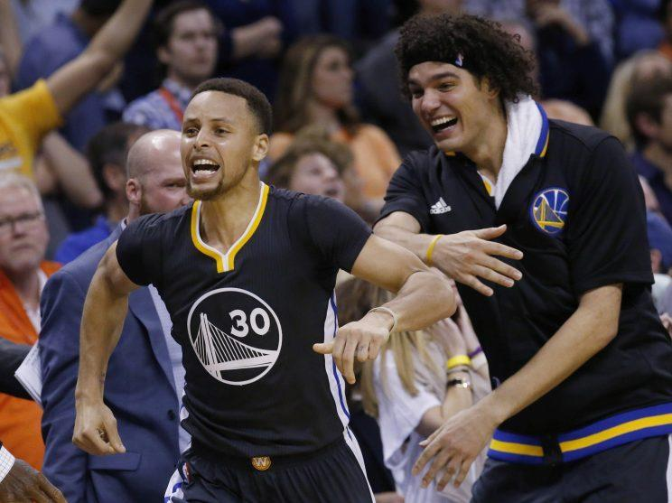 The two best shooters in the NBA have a good time. (AP)