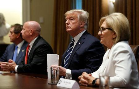 U.S. President Donald Trump sits between Rep. Kevin Brady (R-TX) and Rep. Diane Black (R-TN) after speaking about his summit with Russia's President Vladimir Putin at the start of a meeting with members of the U.S. Congress at the White House in Washington, July 17, 2018. REUTERS/Leah Millis