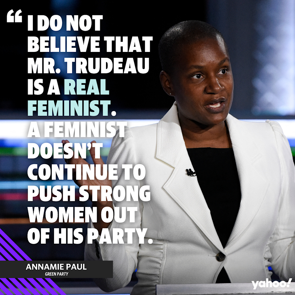 Annamie Paul speaks about Trudeau's feminist record at the Canadian federal election debate