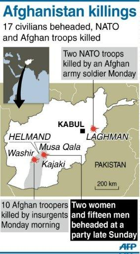 Graphic locating the separate locations in Afghanistan where 17 civilians were beheaded, 10 soldiers killed and two NATO troops shot dead in a bloody few hours spanning late Sunday to Monday