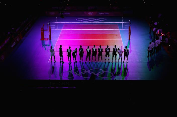 <p>TOKYO, JAPAN - AUGUST 01: Players of Team Iran stand together on the court awaiting Team Japan before the Men's Preliminary Round - Pool A volleyball on day nine of the Tokyo 2020 Olympic Games at Ariake Arena on August 01, 2021 in Tokyo, Japan. (Photo by Toru Hanai/Getty Images)</p>