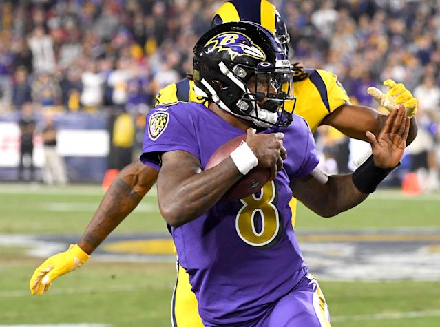 Quarterback Lamar Jackson will face a tough 49ers defense. (Photo by Jayne Kamin-Oncea/Getty Images)