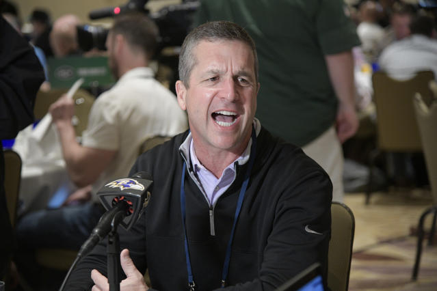 "Baltimore <a class=""link rapid-noclick-resp"" href=""/nfl/teams/bal"" data-ylk=""slk:Ravens"">Ravens</a> coach John Harbaugh promised discipline for a player who tweeted a photo of him wearing a walking boot. (AP)"