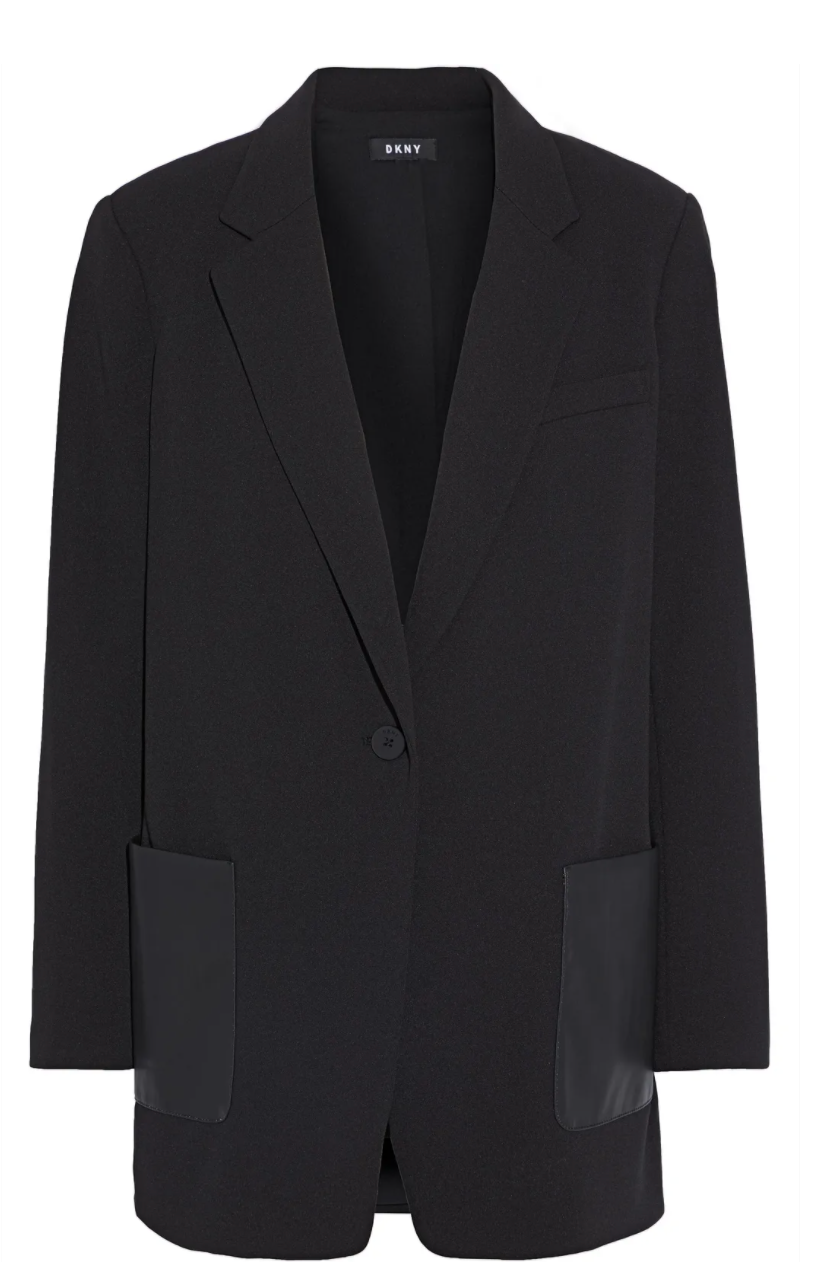 "<br><br><strong>DKNY</strong> Faux Leather-Paneled Crepe Blazer, $, available at <a href=""https://go.skimresources.com/?id=30283X879131&url=https%3A%2F%2Ffave.co%2F34lPlIu"" rel=""nofollow noopener"" target=""_blank"" data-ylk=""slk:The Outnet"" class=""link rapid-noclick-resp"">The Outnet</a>"