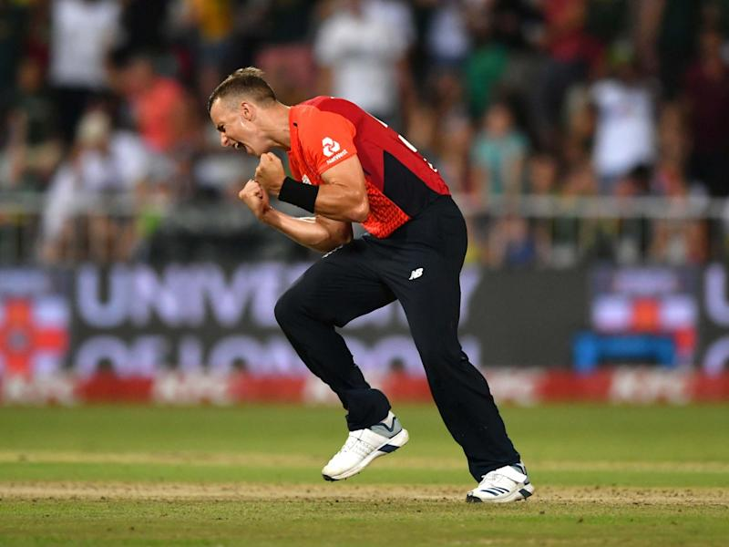 Tom Curran celebrates as England tie the series: Getty