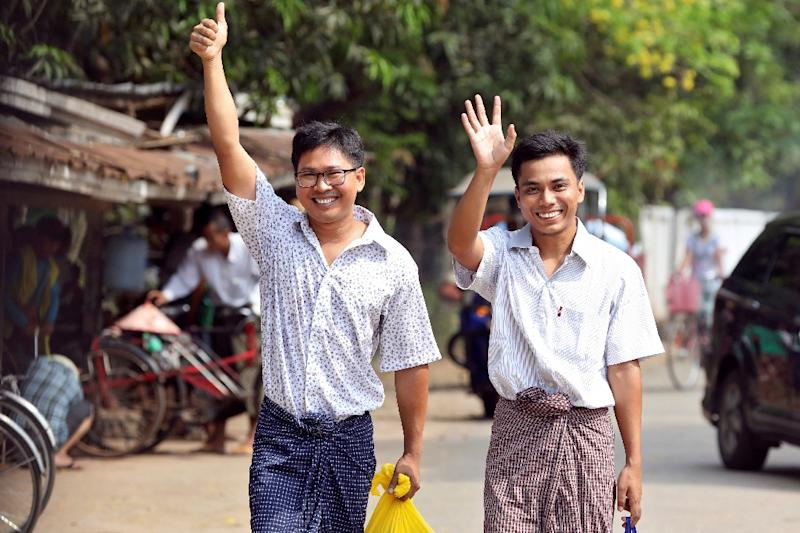 Reporters Wa Lone and Kyaw Soe Oo spent more than 500 days behind bars on charges related to the murder of seven Rohingya Muslims