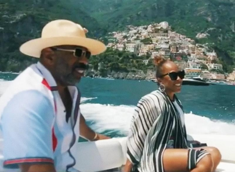 Steve Harvey actually had a video montage made of his getaway with his wife Marjorie Harvey, which included both gondolas and yachts.