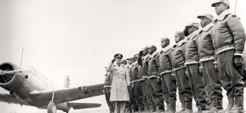 Aviation cadets at Tuskegee Army Air Field, Alabama in 1941. (Courtesy Air Force Historical Research Agency, Maxwell AFB, Alabama)