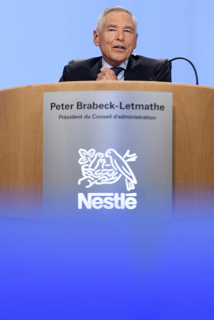 FILE-In this April 6, 2017 taken photo former Nestle's Chairman Peter Brabeck-Letmathe speaks during the general meeting of the world's biggest food and beverage company, Nestle Group, in Lausanne, Switzerland. Peter Brabeck, a former chairman and CEO of Nestle who was tapped by the Swiss government to lead GESDA, used COVID-19 as example how advance planning could help head off health crises in the future: He said mRNA vaccine technology being used now to fight the pandemic has been around a decade. (Laurent Gillieron/Keystone via AP)