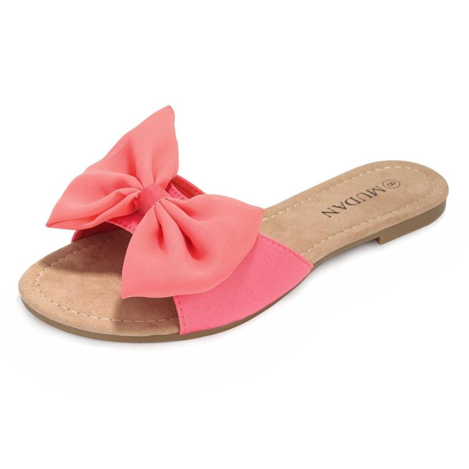 <p>Despite their casual look, these <span> MuDan Floral Slide Sandals </span> ($18) will polish up any outfit.</p>