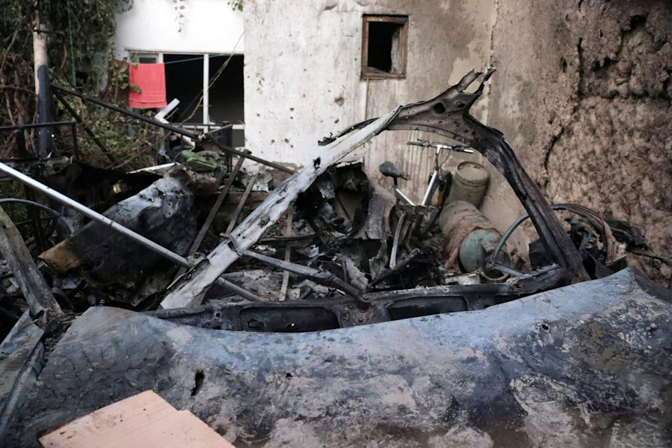 Destroyed vehicle is seen inside a house after U.S. drone strike in Kabul, Afghanistan (AP)