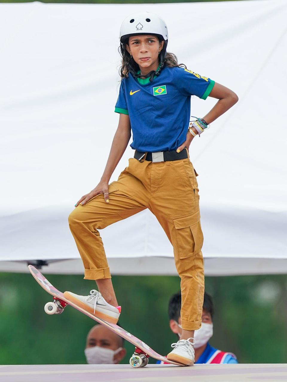 <p>Rayssa Leal of Brazil, who took home a silver medal, jazzed up her uniform top with braided bracelets in complementing colors.</p>