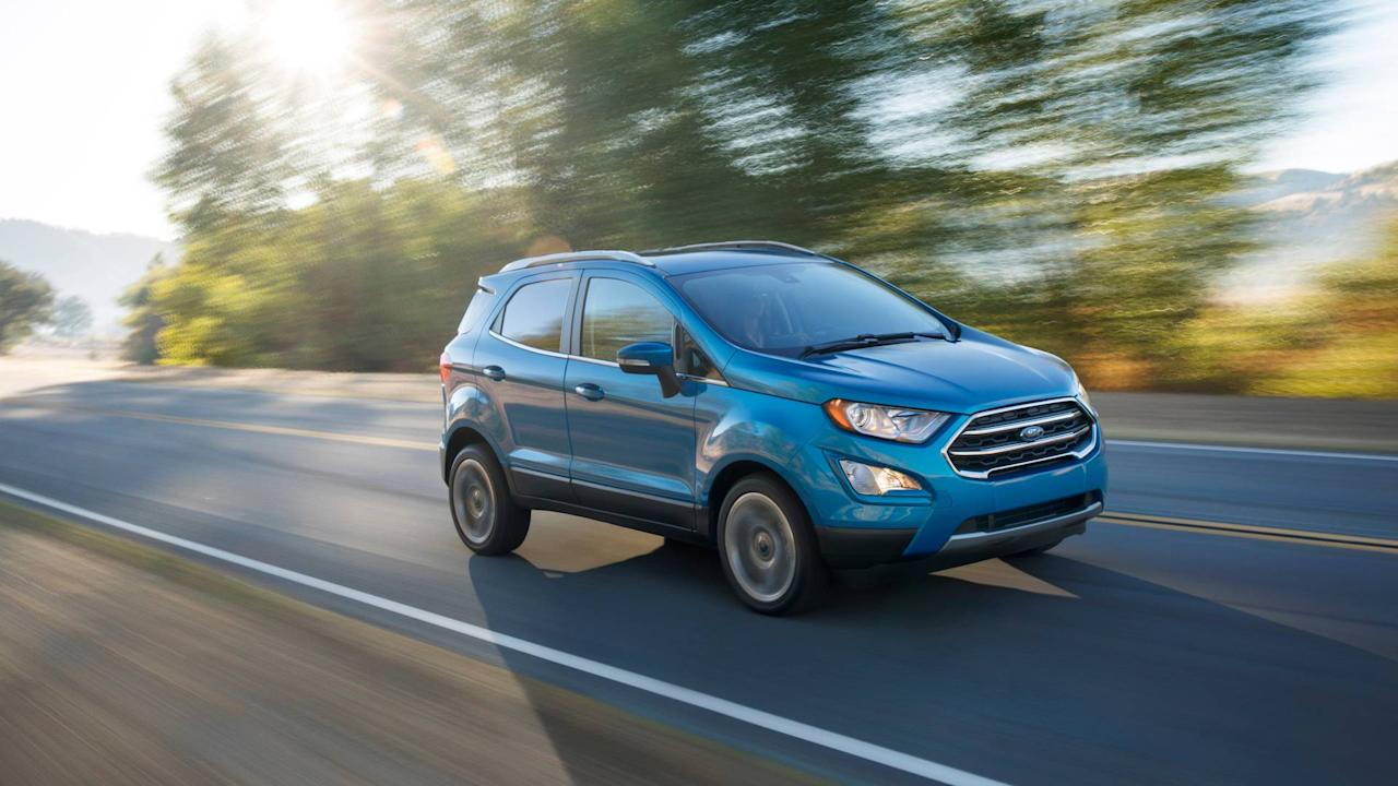 "<p><strong>$168 a month for 39 months with $2,912 due at signing.</strong> New in the U.S. this year the <a rel=""nofollow"" href=""https://www.motor1.com/ford/ecosport/"">Ford EcoSport</a> is a subcompact crossover SUV that was previously sold in other markets. It's based on the Ford Fiesta and like that model offers a 1.0-liter turbocharged three-cylinder engine. It came late to the party with nothing particularly special, however, and tends to get lost in a jam-packed field of small SUVs.</p>"