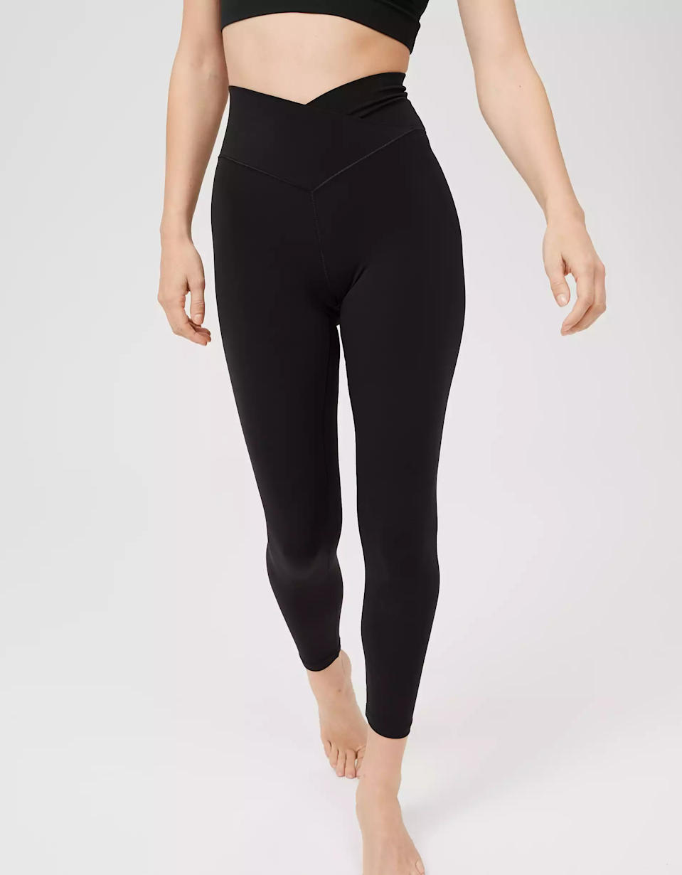 """<strong><h3>Aerie: The Super Soft Legging</h3></strong><br>If you're looking for leggings that are equally soft and stretchy, look no further.<br><br><strong>The hype:</strong> 4.6 out of 5 stars and 1,088 reviews on American Eagle Outfitters<br><br><strong>What they're saying:</strong> <br>""""These are literally the best leggings I have ever bought. I have always been such a lulu snob and these have won me over. Got the black and they stay up, they don't show sweat, and they are so soft and comfortable. Like butter!! Ordering more!!"""" - AUDS, American Eagle Outfitters Review<br><br><strong>Aerie</strong> High Waisted Crossover Legging, $, available at <a href=""""https://go.skimresources.com/?id=30283X879131&url=https%3A%2F%2Fwww.ae.com%2Fus%2Fen%2Fp%2Fae%2Faerie%2Foffline%2Foffline-real-me-high-waisted-crossover-legging%2F0708_5104_073"""" rel=""""nofollow noopener"""" target=""""_blank"""" data-ylk=""""slk:American Eagle Outfitters"""" class=""""link rapid-noclick-resp"""">American Eagle Outfitters</a>"""