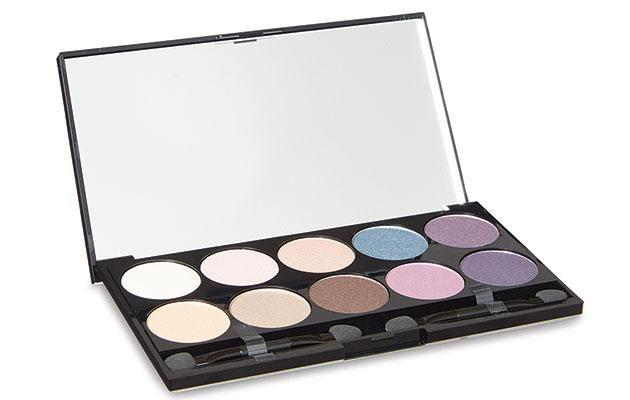 Then we tried the $9.99 Aldi Lacura Stepping Out Eyeshadow Palette. Photo: Aldi